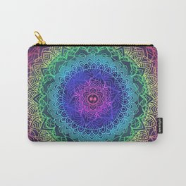 Trippy Mandala Design and Rainbow Carry-All Pouch