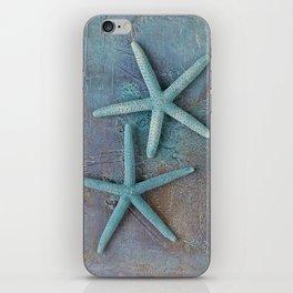 Turquoise Starfish on textured Background iPhone Skin