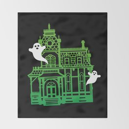 Haunted Victorian House Throw Blanket