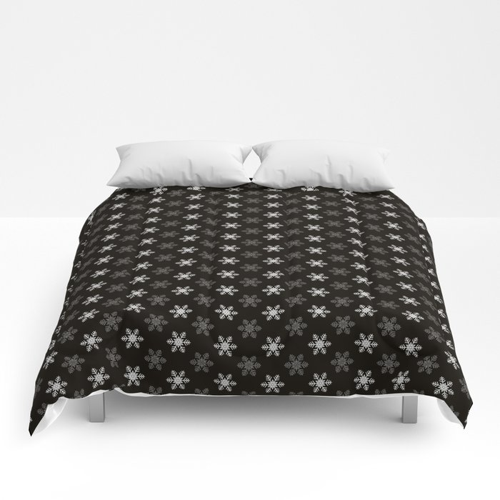 Snowflake Pattern | Winter | Hygge | Scandi | Black and White | Comforters