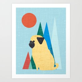 Waiting for you Pug Art Print