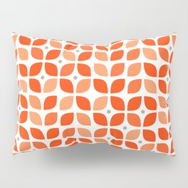 Red geometric floral leaves pattern in mid century modern style Pillow Sham