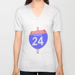 Interstate highway 24 road sign in Illinois Unisex V-Neck