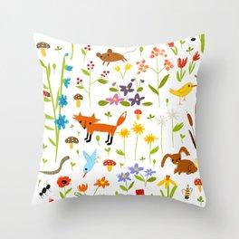 flora & fauna Throw Pillow