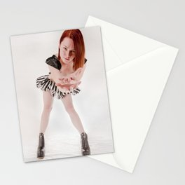 0895s-MM Megan Reaching Out in Striped Dress, Leather Halter, Black Boots Stationery Cards