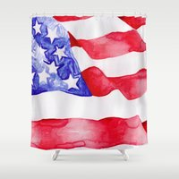 american flag Shower Curtains featuring American Flag by Bridget Davidson