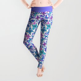 Watercolor Fruit Patterned Butterflies - aqua and sapphire Leggings