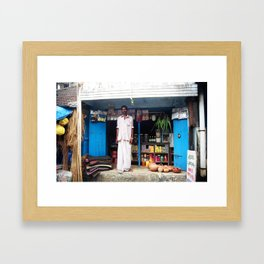 Shop owner, Fort Kochin, Kerala, India Framed Art Print