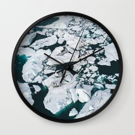Icelandic glacier icebergs from above - Landscape Photography Wall Clock