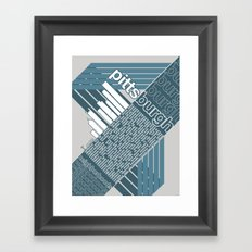 Pittsburgh Neighborhoods, rev. 2 steel-blue hues Framed Art Print