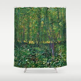 Brush and Underbrush flower and forest landscape by Vincent van Gogh Shower Curtain