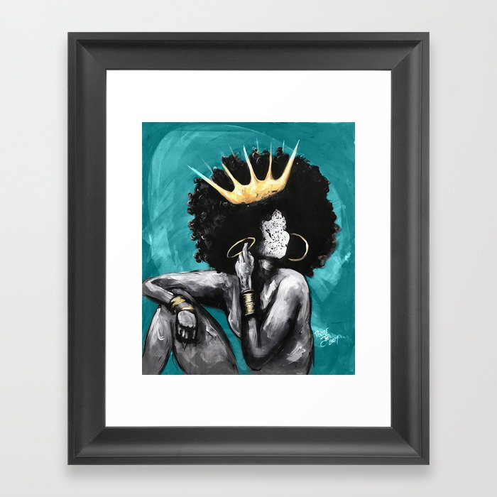 Naturally Queen VI  TEAL Gerahmter Kunstdruck