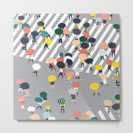 Crossing The Street on a Rainy Day - Grey Metal Print
