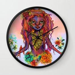 Flower Power Girl Wall Clock
