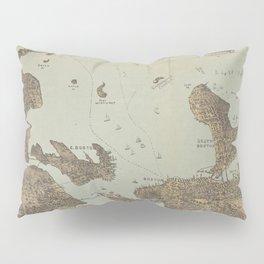 Vintage Pictorial Map of Boston Harbor (1879) Pillow Sham