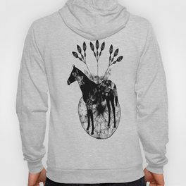 Black and white horse and the flowers Hoody