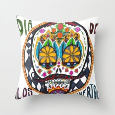 Dia de los Muertos with Braces Throw Pillow