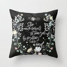 Secret Garden - She Made Herself Stronger (Black) Throw Pillow