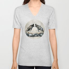 Fighting Bighorn Sheep Rams Unisex V-Neck