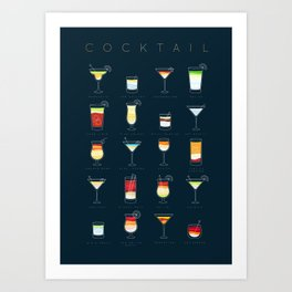 Cocktails flat dark blue Art Print