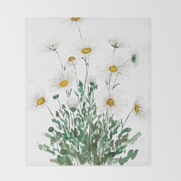 white Margaret daisy watercolor Throw Blanket