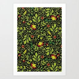 Lime, Dark Green, Red, Black & Yellow Floral Pattern Art Print
