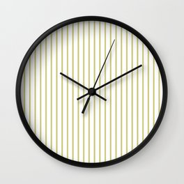Fern Green Pinstripe on White Wall Clock