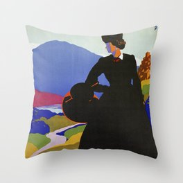 Abruzzo Italian travel Lady on a walk Throw Pillow