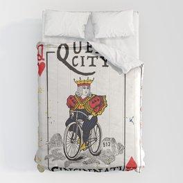 Queen of Cincinnati Bike Print Comforters