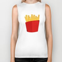 french fries Biker Tanks featuring FRENCH FRIES by cfortyone
