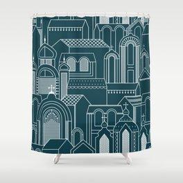 Ukrainian Church Monochrome Shower Curtain