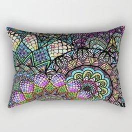 Colorful Floral Mandala Pattern with Geometric Drawings Rectangular Pillow