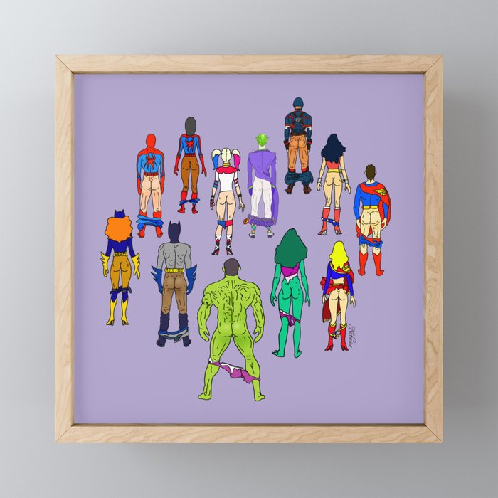 Superhero Butts - Power Couple on Violet Framed Mini Art Print
