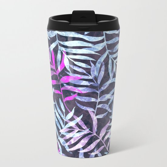 Watercolor Tropical Palm Leaves X Metal Travel Mug