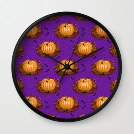 Pumpkins in a Purple Patch Wall Clock