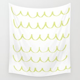 Citron Green Waves Wall Tapestry