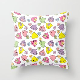 Cute Poopies Valentine's Conversation Hearts Throw Pillow