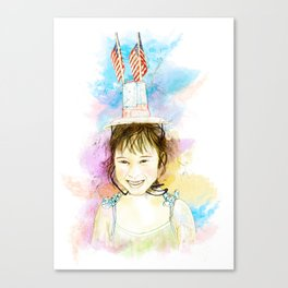 Little Miss Fourth Of July Canvas Print