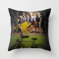 tour de france Throw Pillows featuring tour de france by Emanuele Reina