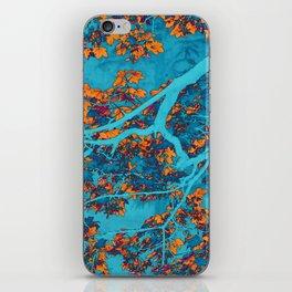 Colourful blue and orange trees iPhone Skin