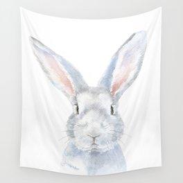 Gray Bunny Rabbit Watercolor Painting Wall Tapestry