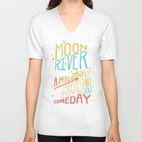 river song V-neck T-shirts featuring MOON RIVER by Matthew Taylor Wilson
