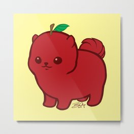 Apple Red Pom de Terrier Metal Print
