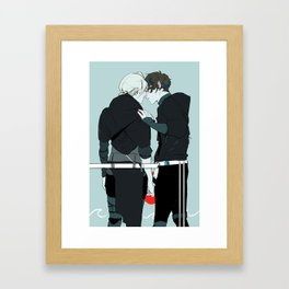 Kiss and Hold Hands Framed Art Print