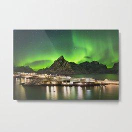 Aurora borealis over a village on the Lofoten in Norway Metal Print
