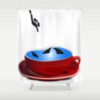 shark Shower Curtains featuring Shark by Cs025