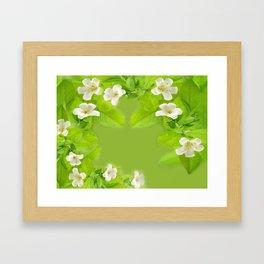Small White Flowers on Vine Framed Art Print