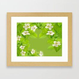 Small White Flowers on Vine Framed Art Print