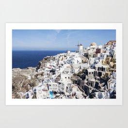 White, Blue, and Charming: Oia, Santorini Art Print