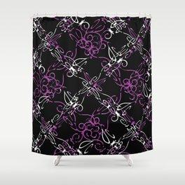 Dark Vintage Lace Pattern Shower Curtain